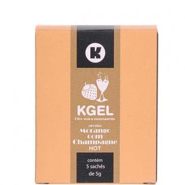 KGEL HOT MORANGO COM CHAMPAGNE 5ML - CAIXA COM 5 SACHES